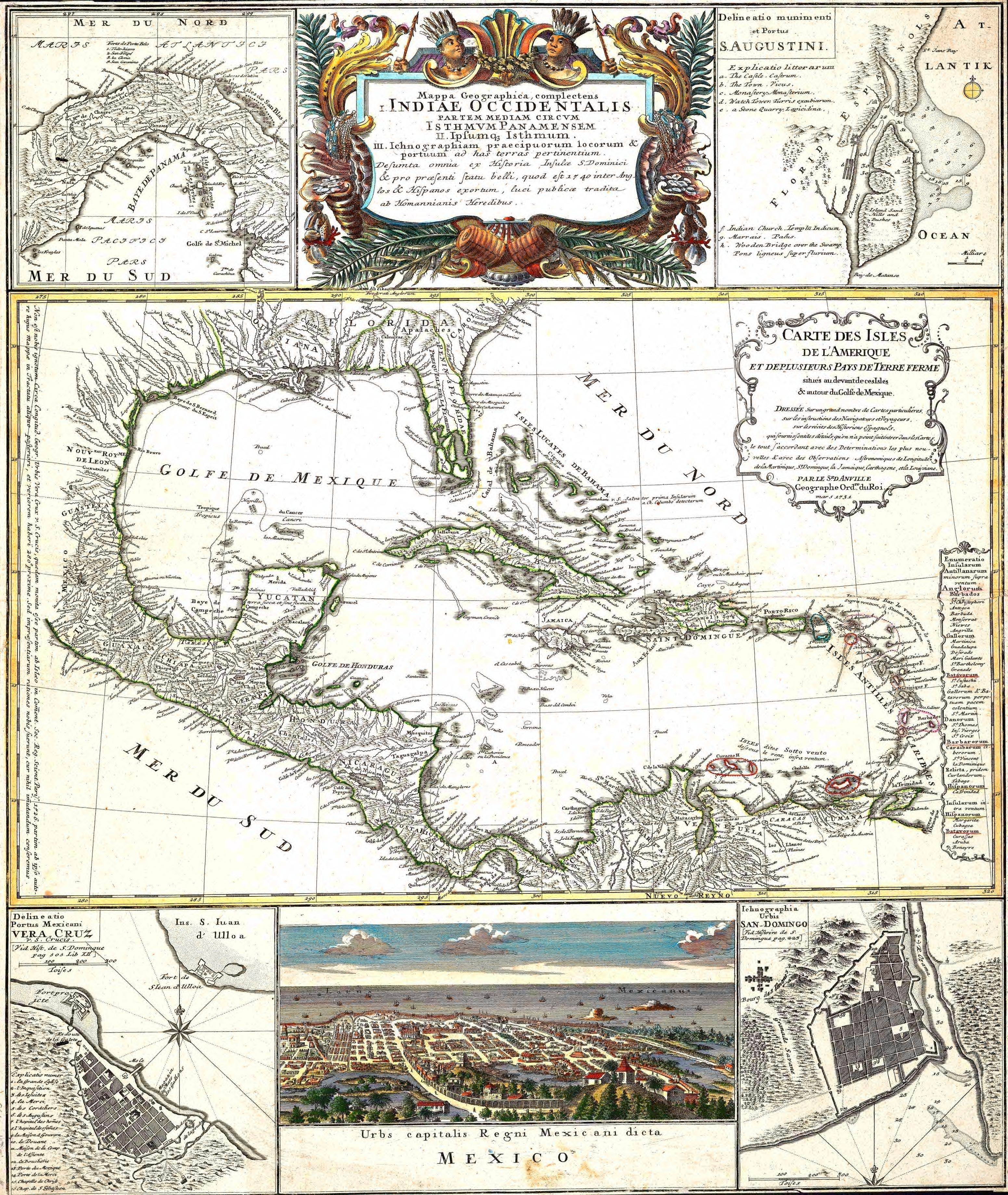 América Central y el Caribe c. 1800