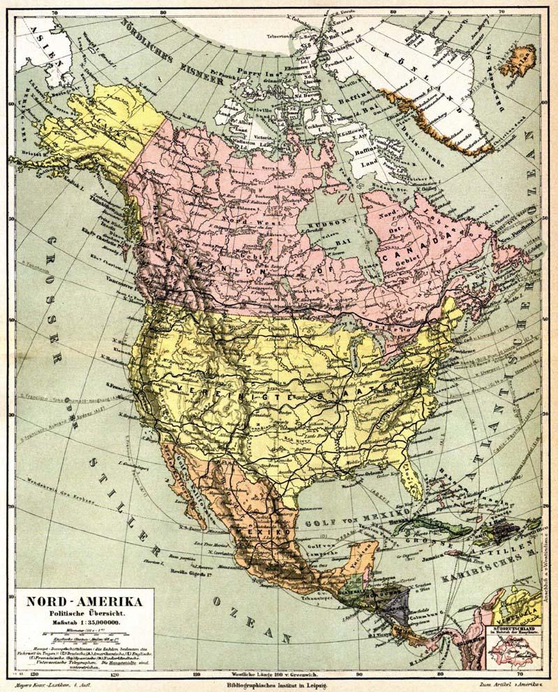 América del Norte en 1888