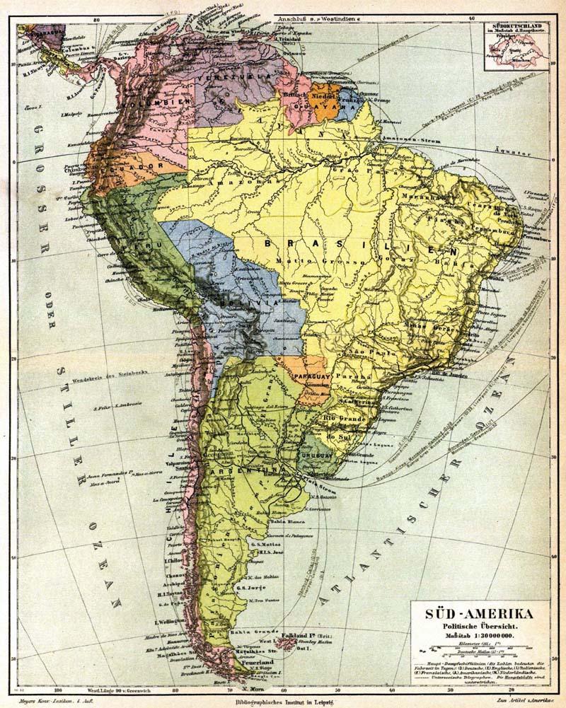 América del Sur en 1888