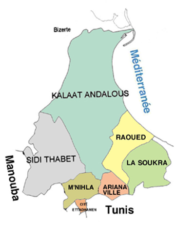 Ariana Governorate Map, Tunisia