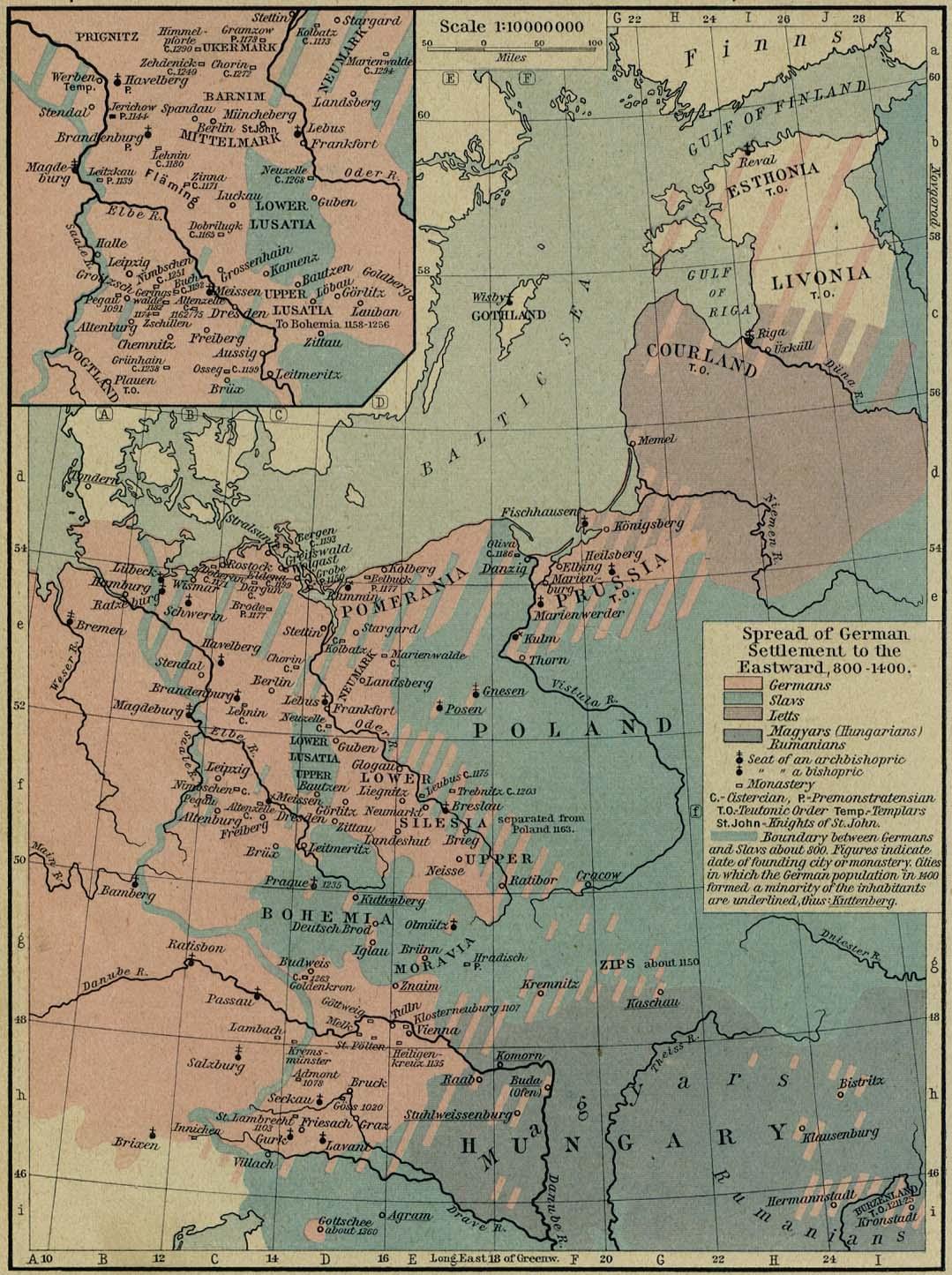 Avance de los asentamientos Germánicos hacia el Este 800-1400
