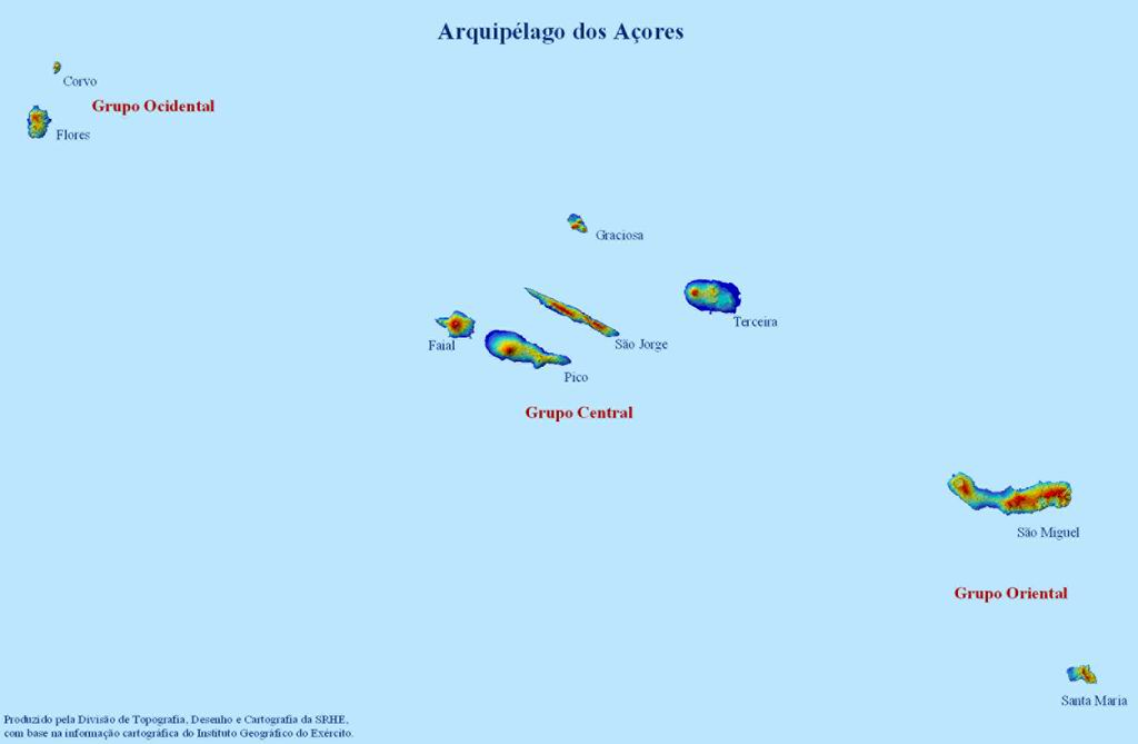 Azores Islands Map, Portugal
