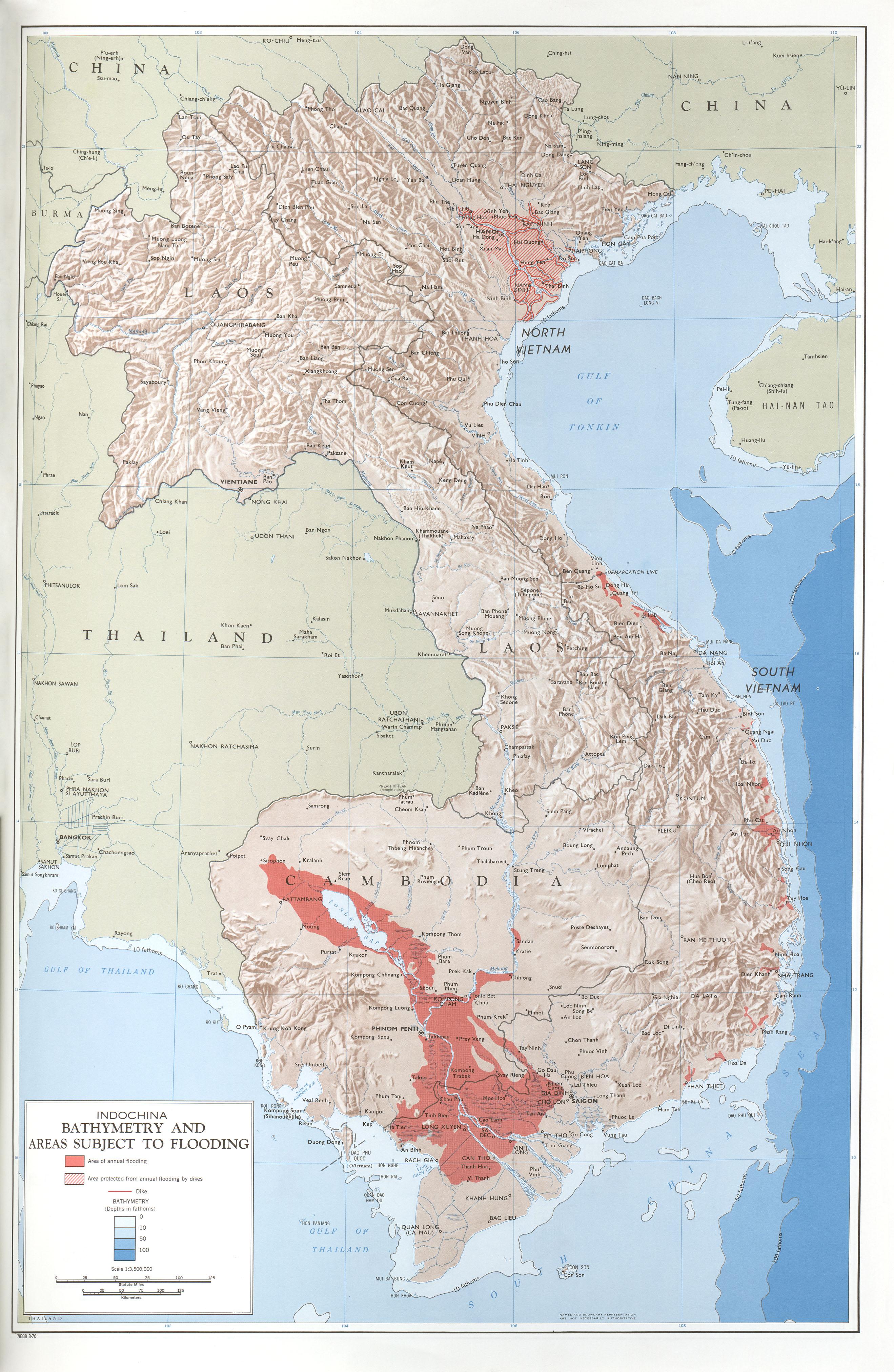 Batimetría y Áreas Sujetas a Inundaciones en Indochina