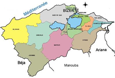 Bizerte Governorate Map, Tunisia