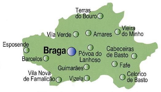 Braga District Map, Portugal