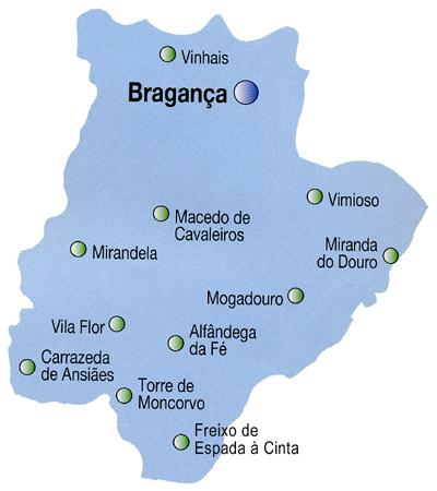 Bragança District Map, Portugal