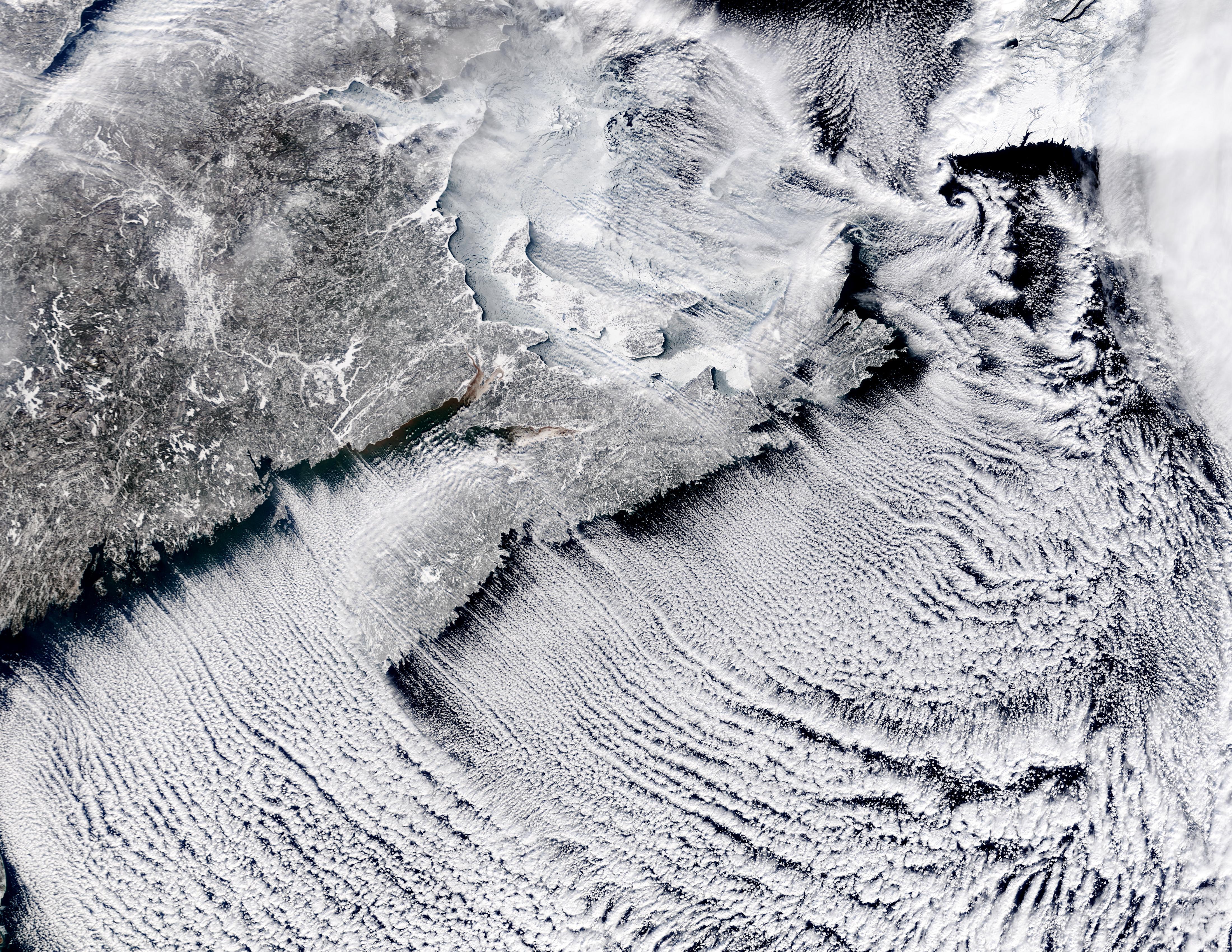 Cloud streets off Nova Scotia, Canada