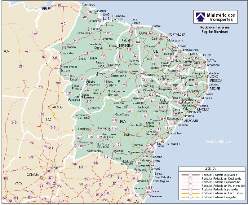 Carreteras Federales de la Región Nordeste, Brasil