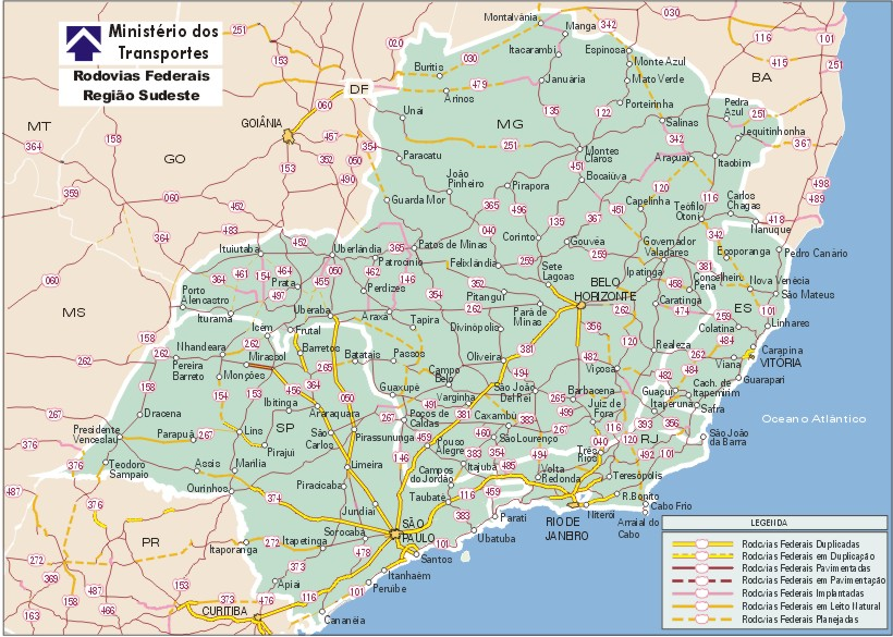 Carreteras Federales de la Región Sudeste, Brasil