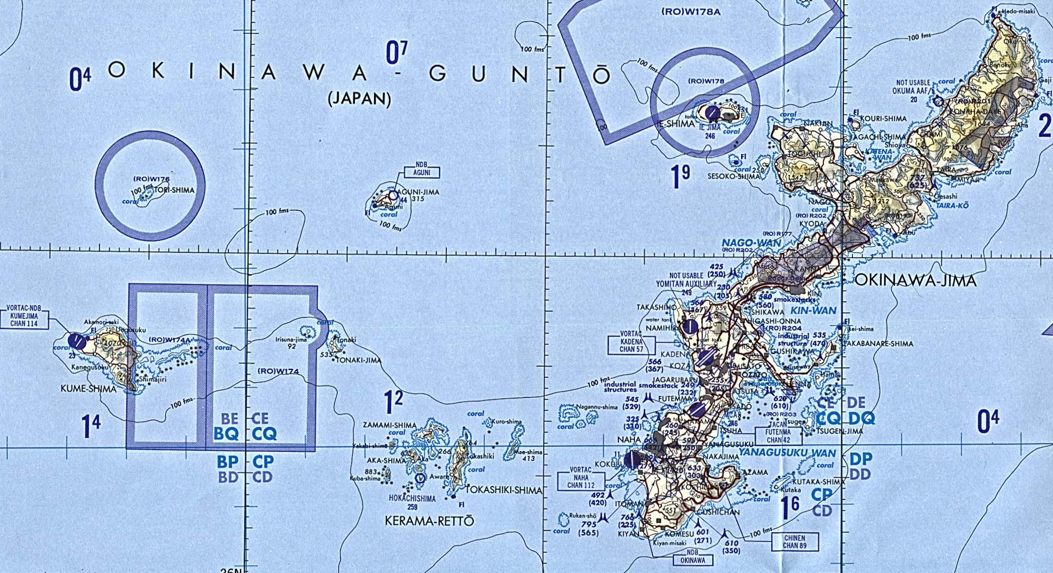 Carta Aeronáutica de Okinawa, Japón