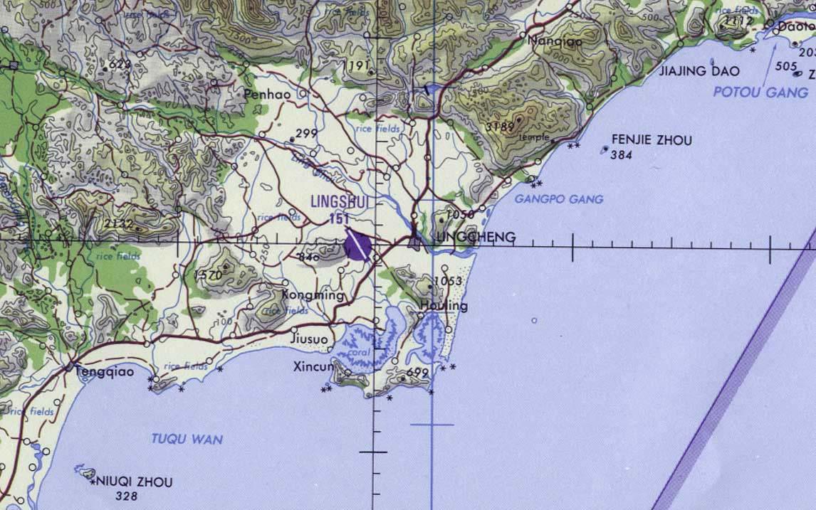 Lingshui Air Base Tactical Pilotage Chart, Hainan Island, China
