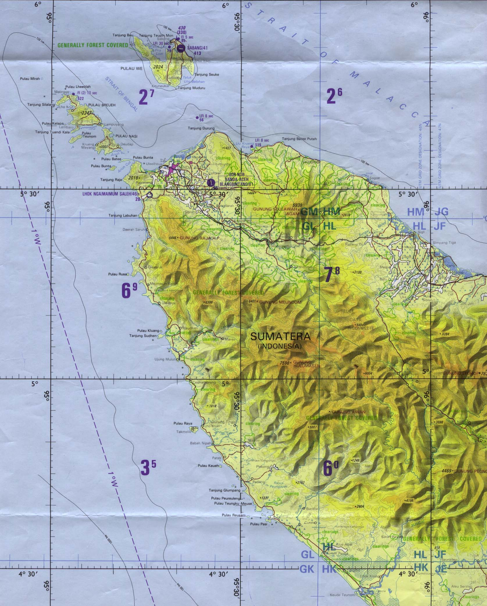 Aceh Region Tactical Pilotage Chart, Indonesia