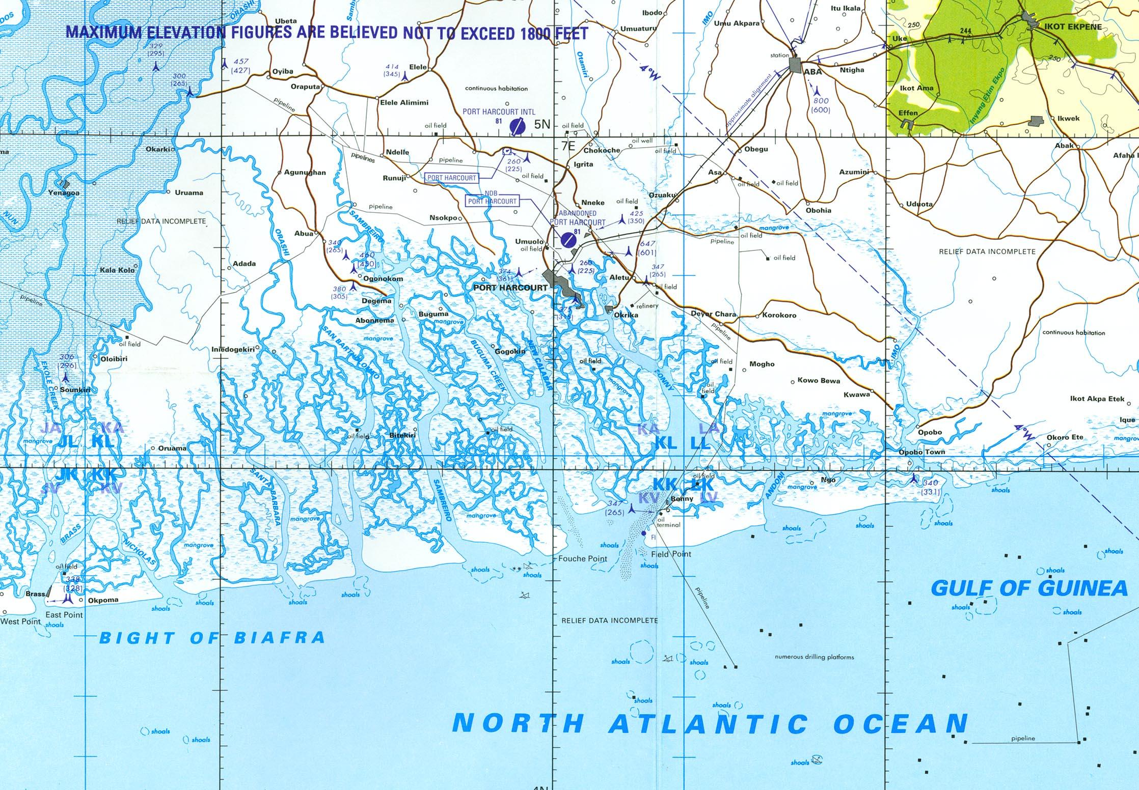 Carta Aeronáutica de la Región de Port Harcourt, Nigeria