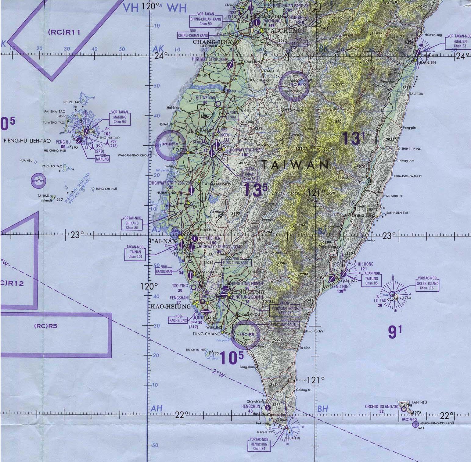Carta Aeronáutica del Sur de Taiwán