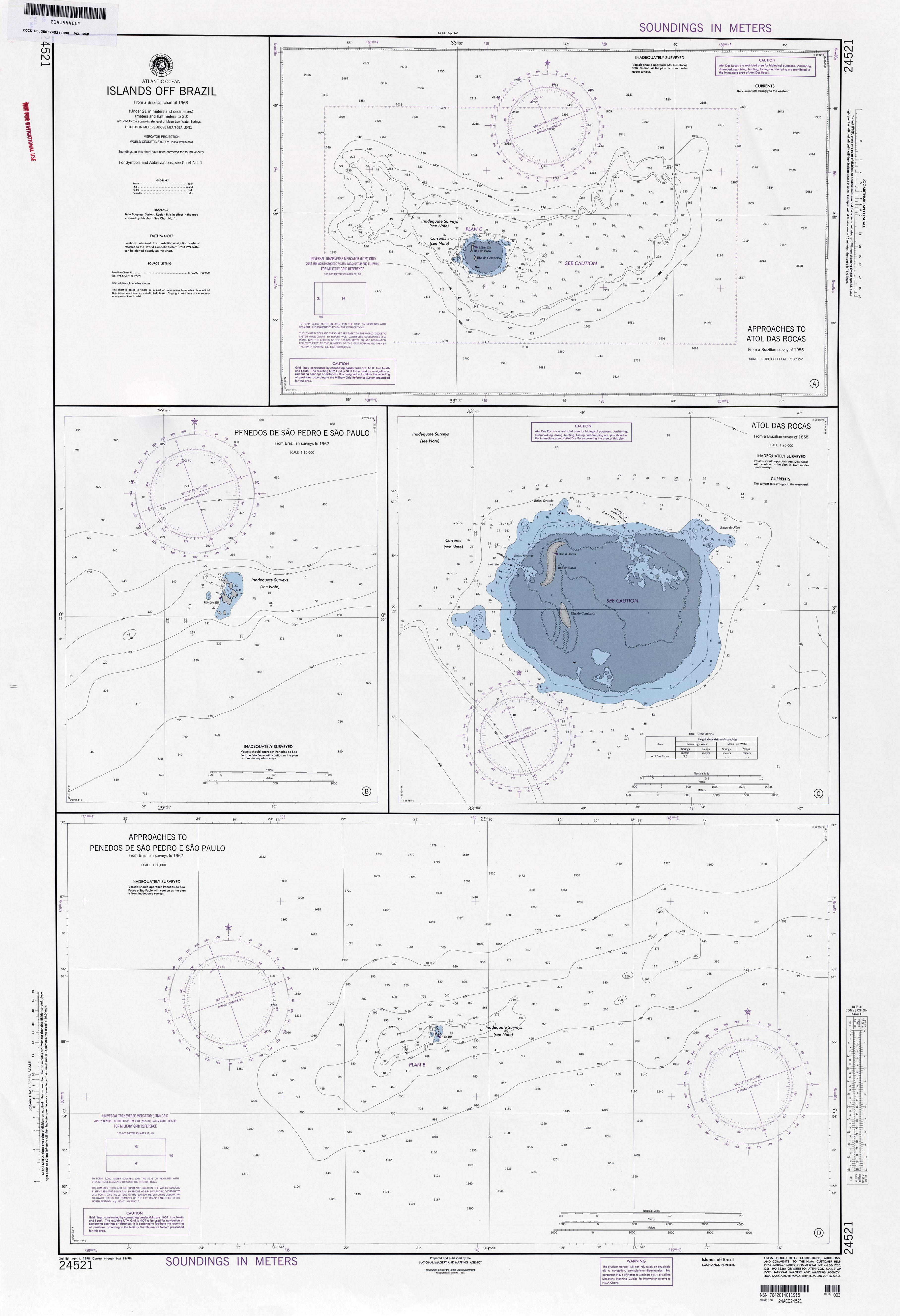 Carta Náutica de Islas en la Costa de Brasil