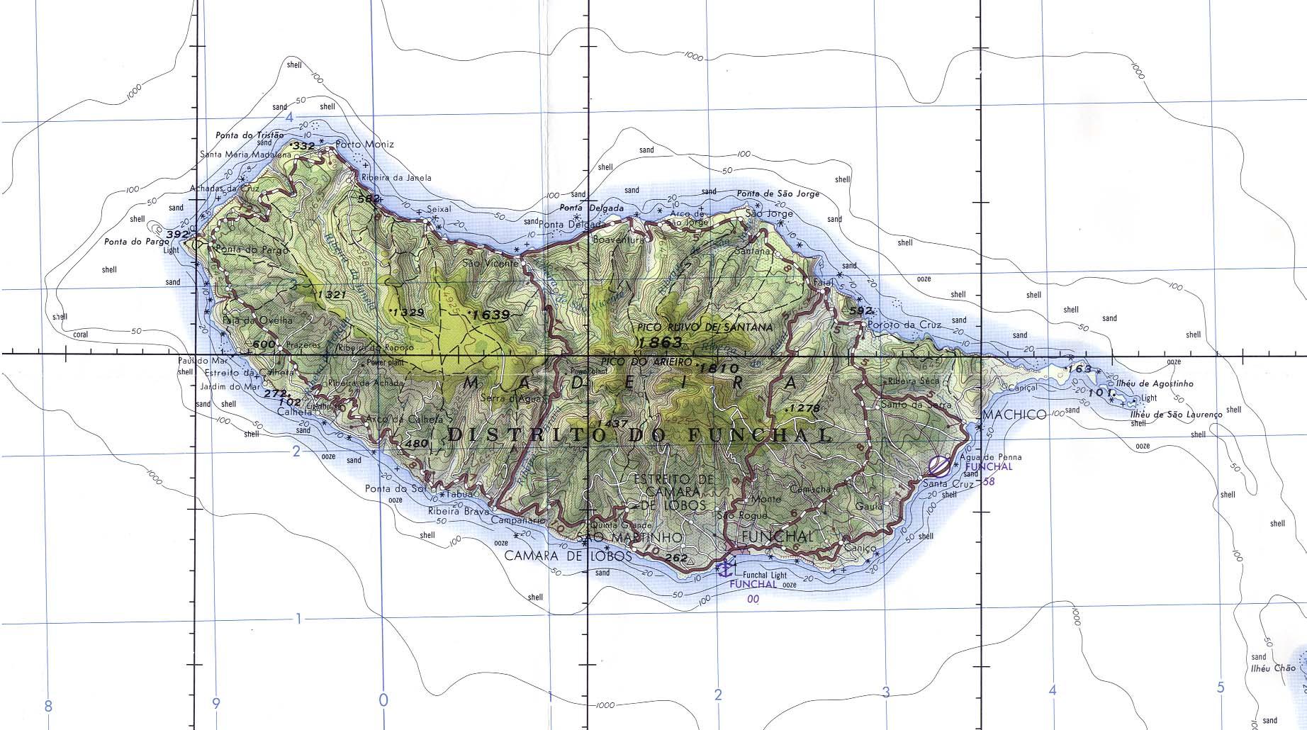 Carta Náutica de Madeira, Portugal