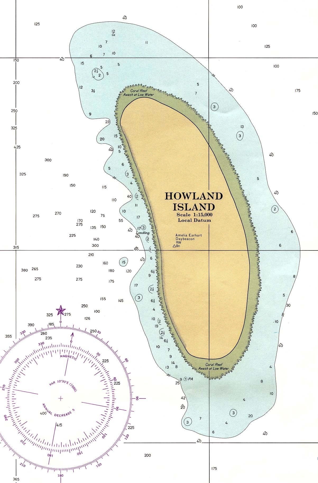 Carta Náutica de la Isla Howland, Estados Unidos