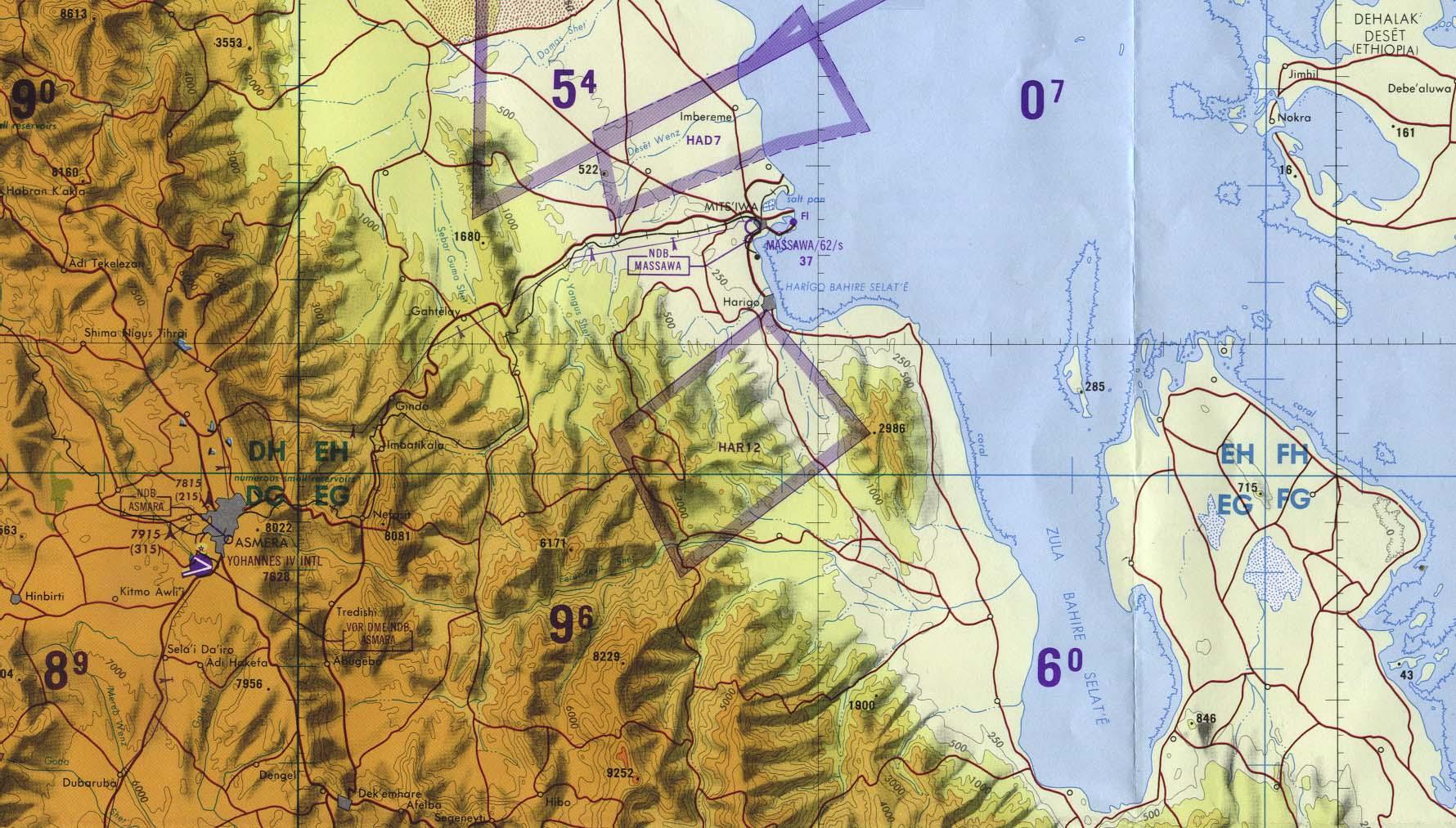 Asmara - Massawa Area Tactical Pilotage Chart, Eritrea