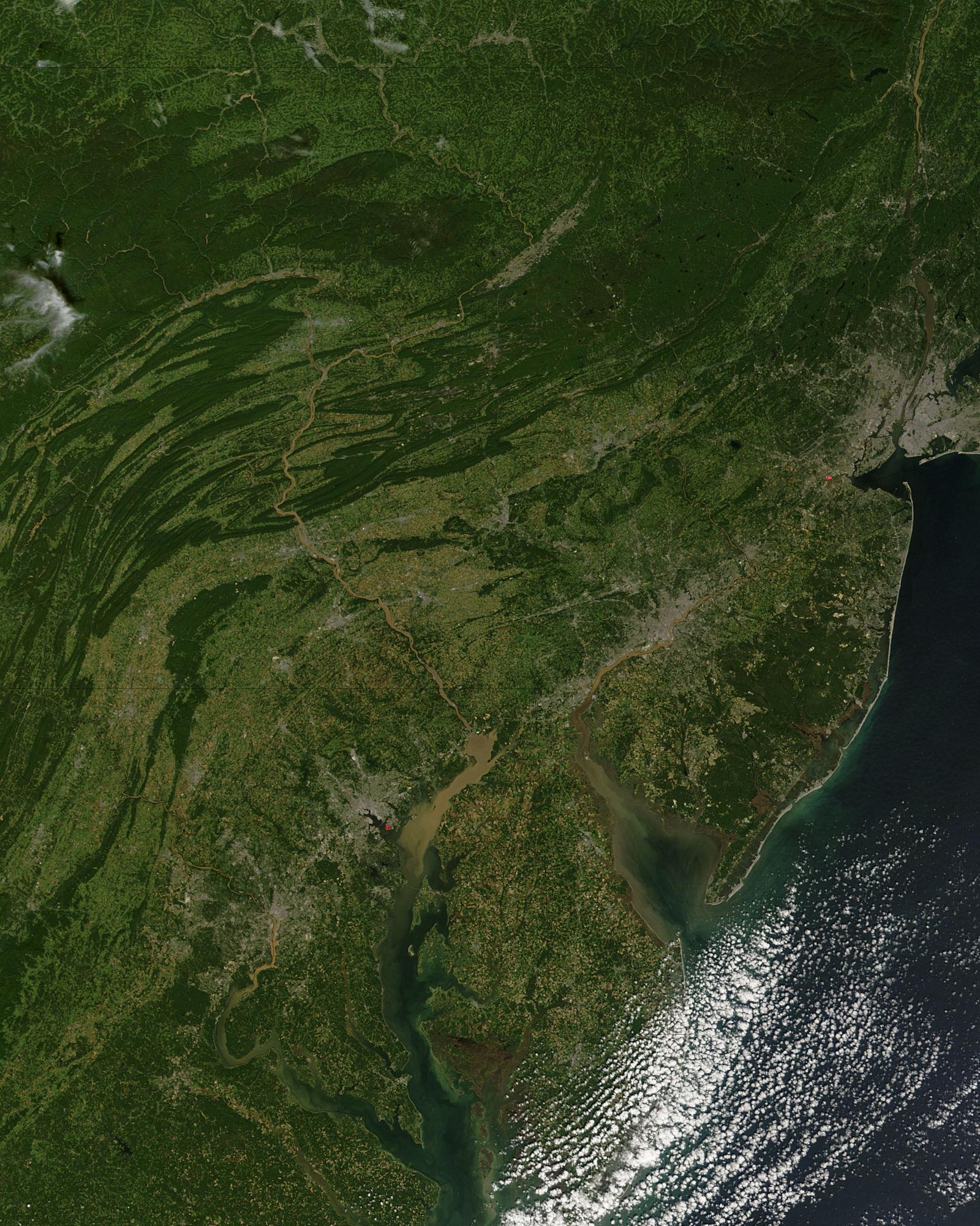 Cieno en los estados del Mid-Atlantic