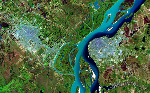 Satellite Image, Photo of the Cities of Corrientes & Resistencia, Argentina