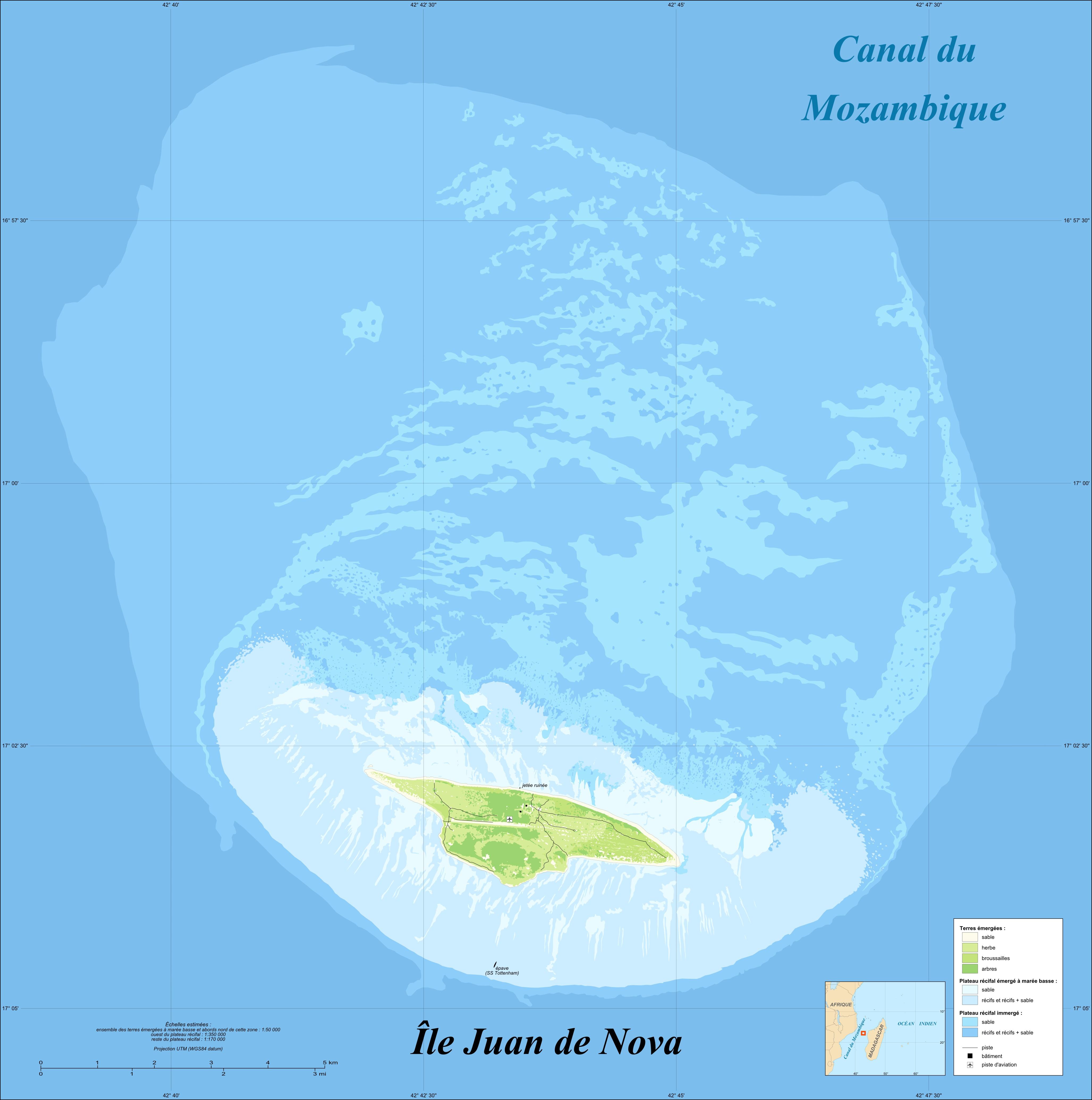 Cobertura terrestre de Juan de Nova y su Arrecife