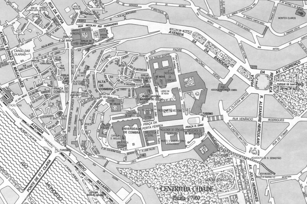 Coimbra Black & White Map, Portugal
