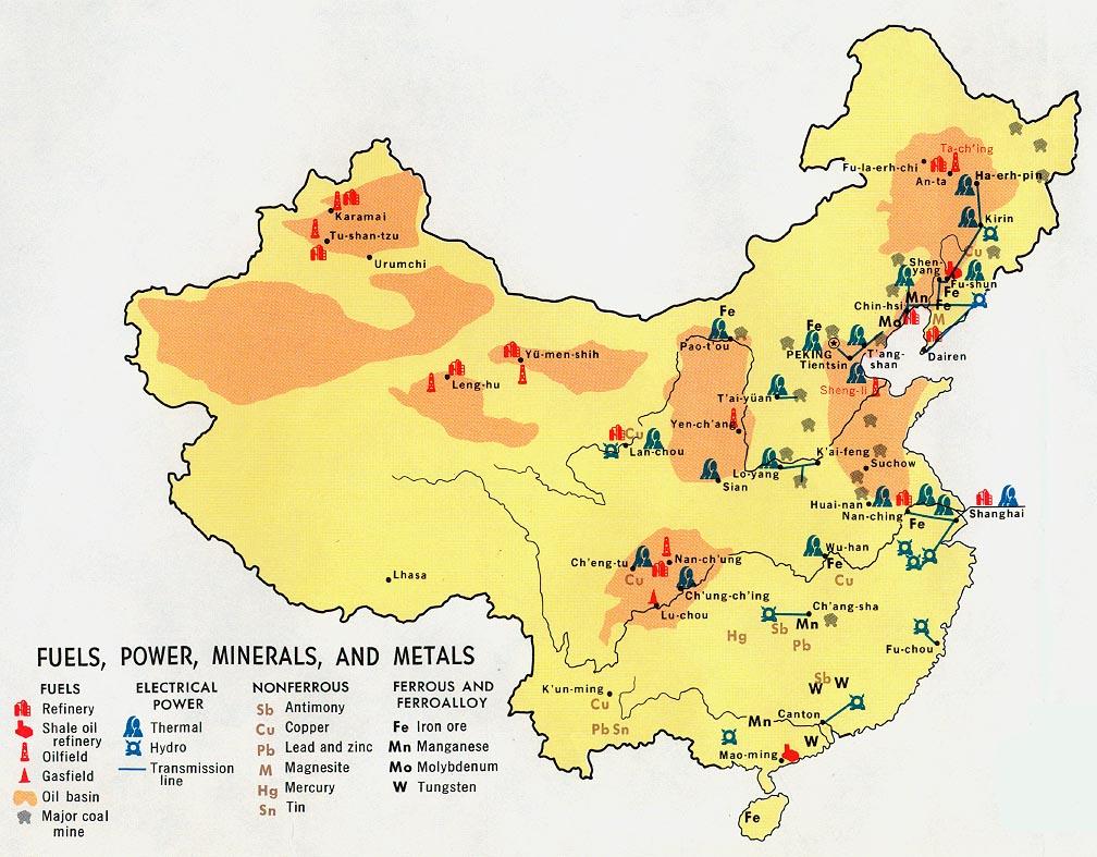 Combustibles, Energía Eléctrica, Minerales y Metales de China 1971