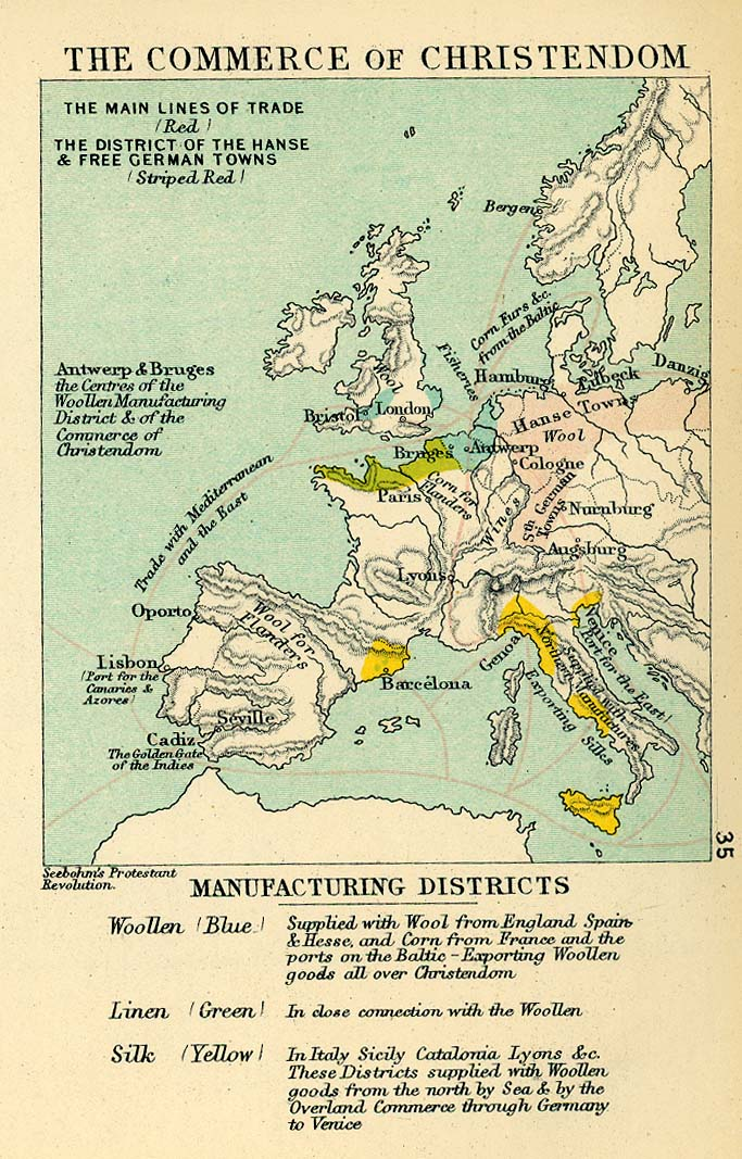The commerce of Christendom in Europe in the 16th Century