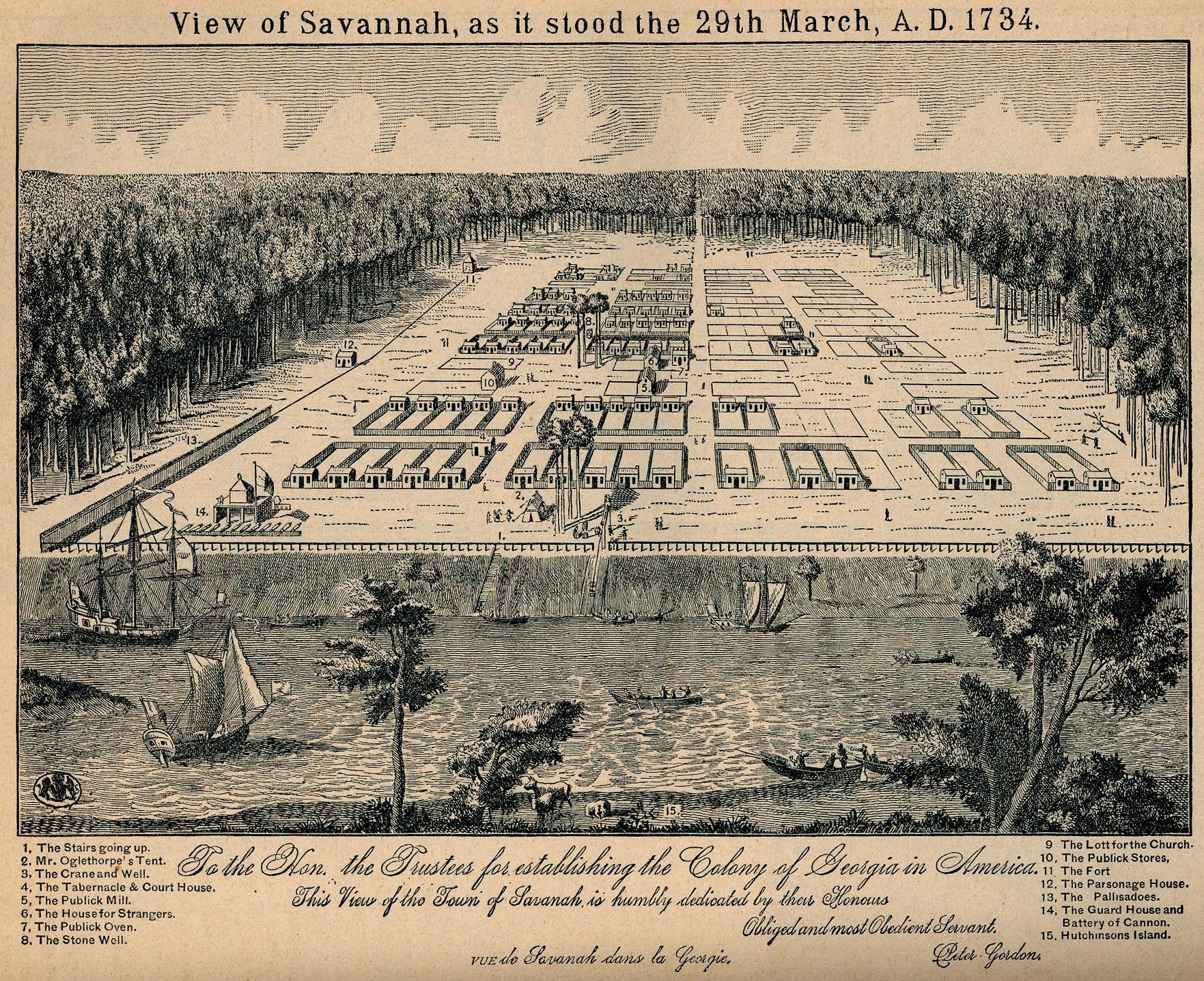 Croquis de Savannah, Georgia, Estados Unidos 1734