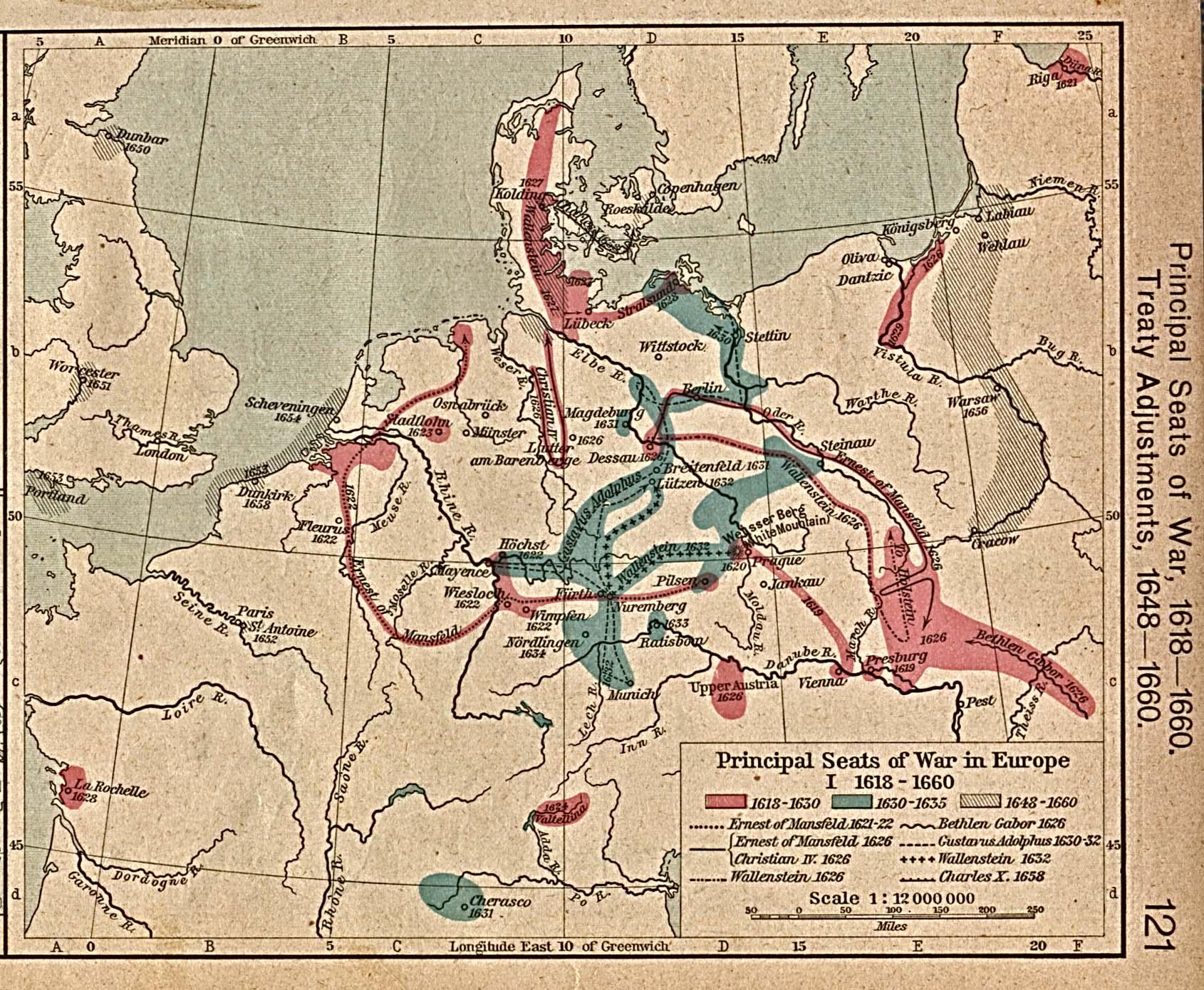 Principal seats of War in Europe 1618-1660