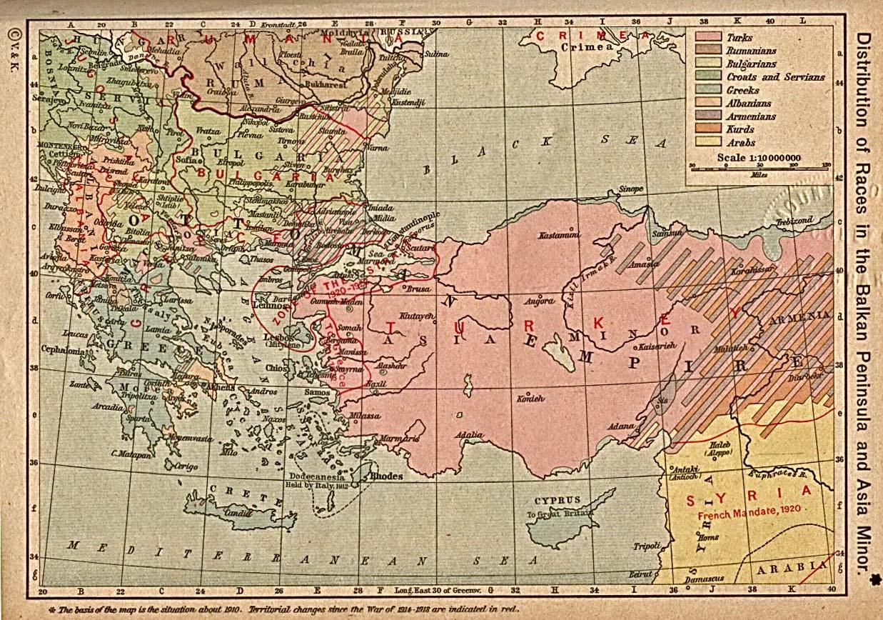 Distribución de las razas en la Península de los Balcanes y Asia Menor 1910