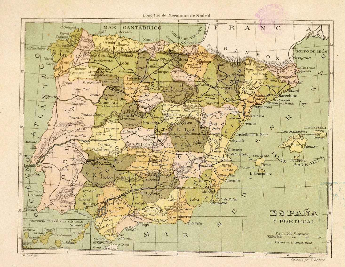 Provincial division of Spain 1850
