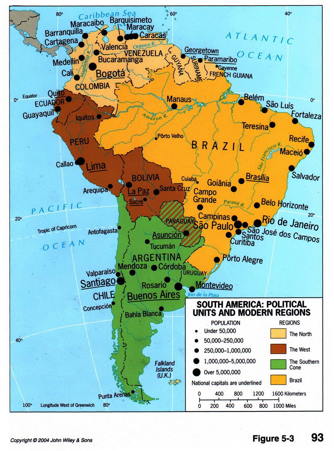 Divisiones políticas y regiones de América del Sur 2004