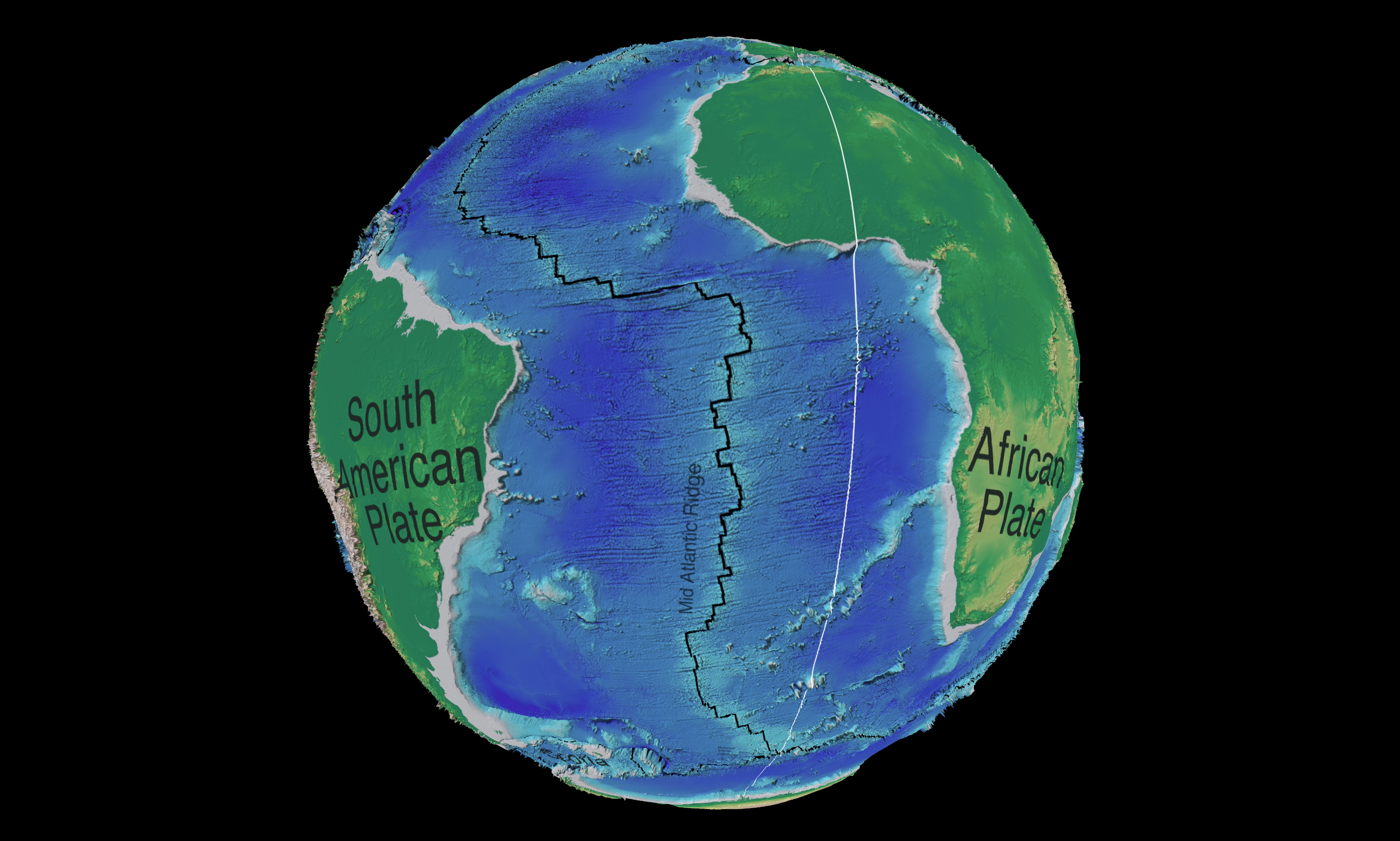 The Mid-Atlantic Ridge (MAR) in the South Atlantic Ocean