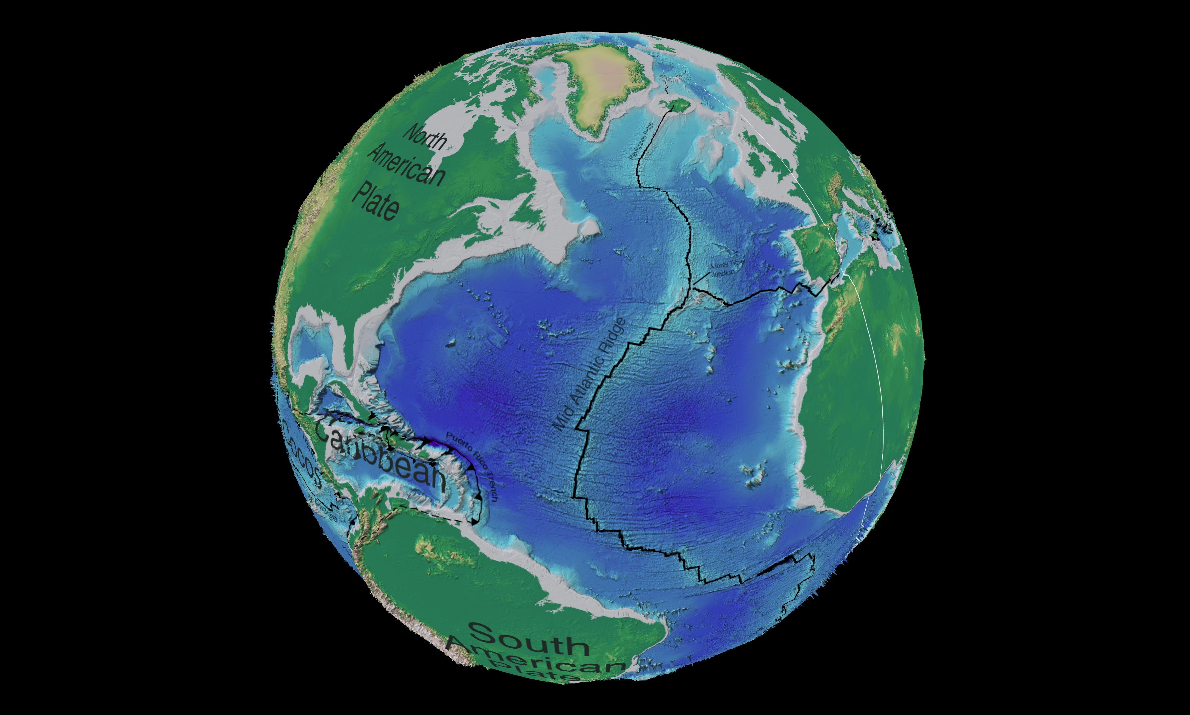 Dorsal mesoatlántica en el Océano Atlántico norte