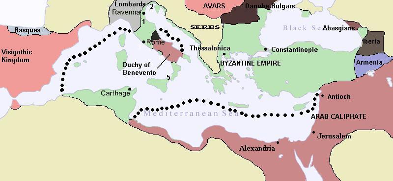 El Imperio Bizantino en 650 A.D.