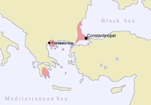 El Imperio bizantino hacia 1400
