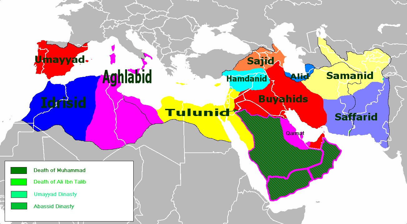 Emiratos independientes de facto c. 950