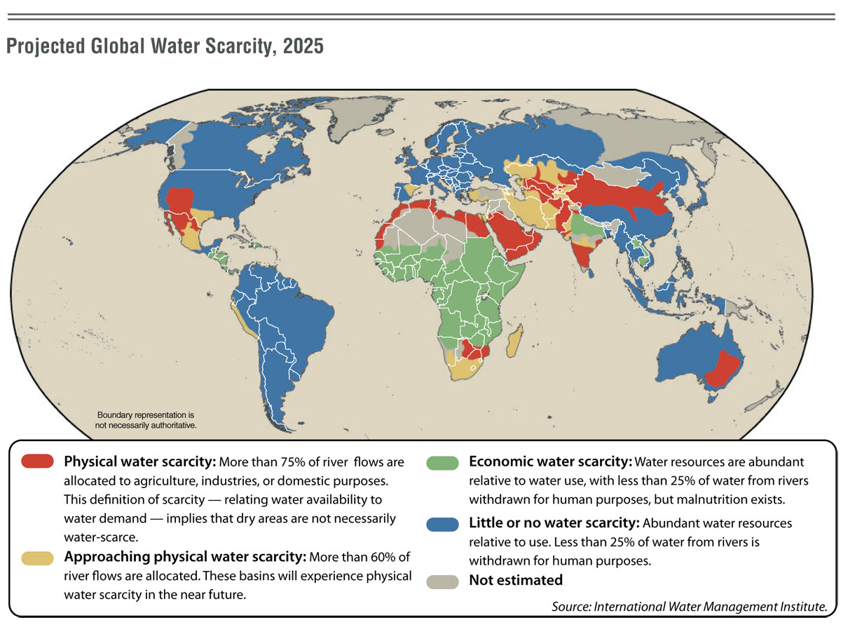 Projected world water scarcity 2025