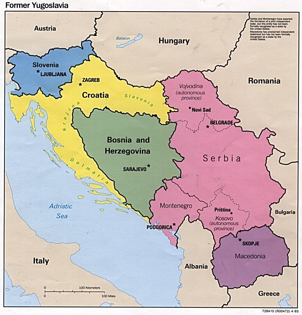 Eslovenia, Croacia, Bosnia y Herzegovina, Serbia, Montenegro y Macedonia
