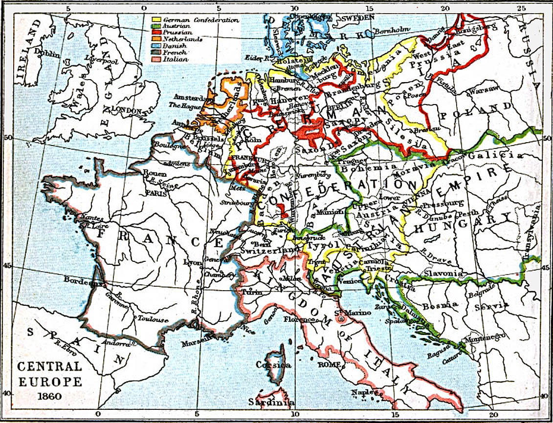 Central Europe Map 1860 A.D.