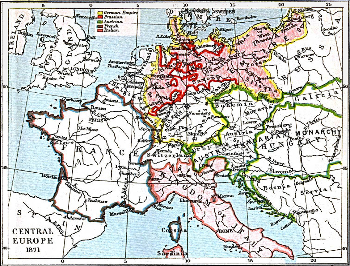 Central Europe Map 1871 A.D.