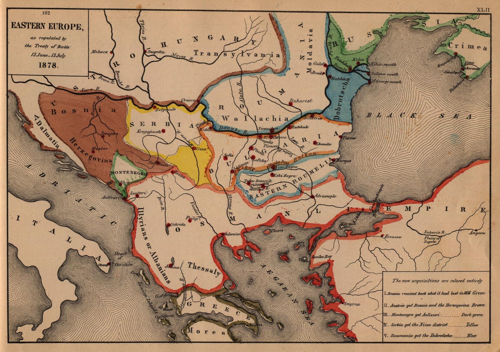 Eastern Europe Map 1878