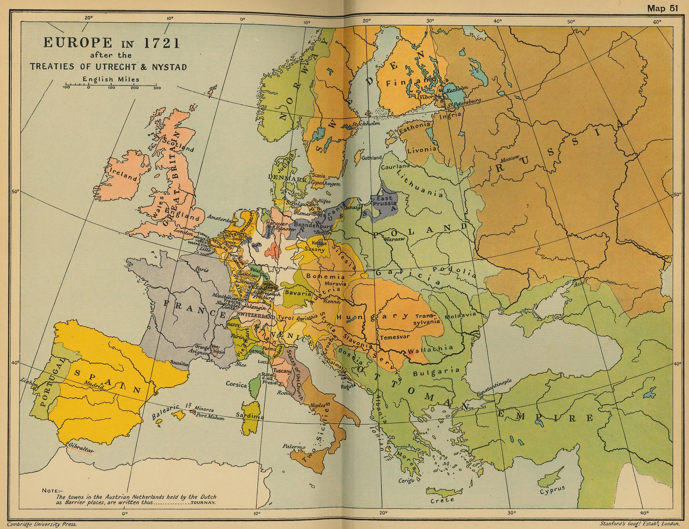 Europa en 1721 después de los Tratados de Utrecht y Nystad
