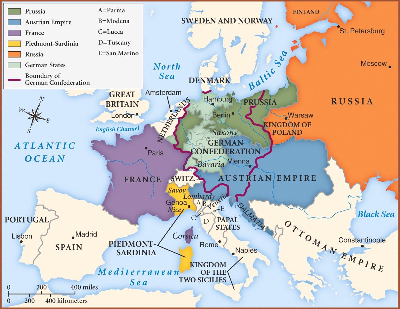 Europa tras el Congreso de Viena 1815