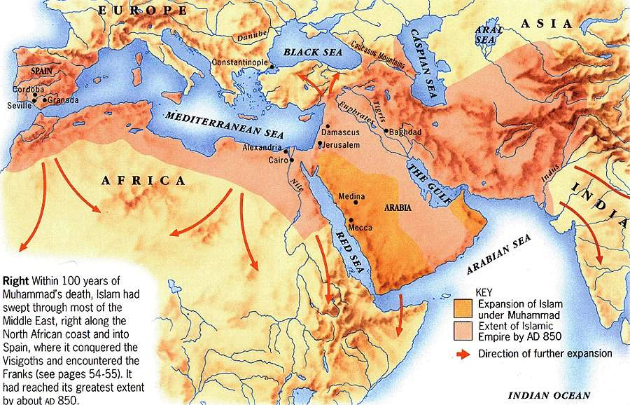 Expansión musulmana hasta 850 dC
