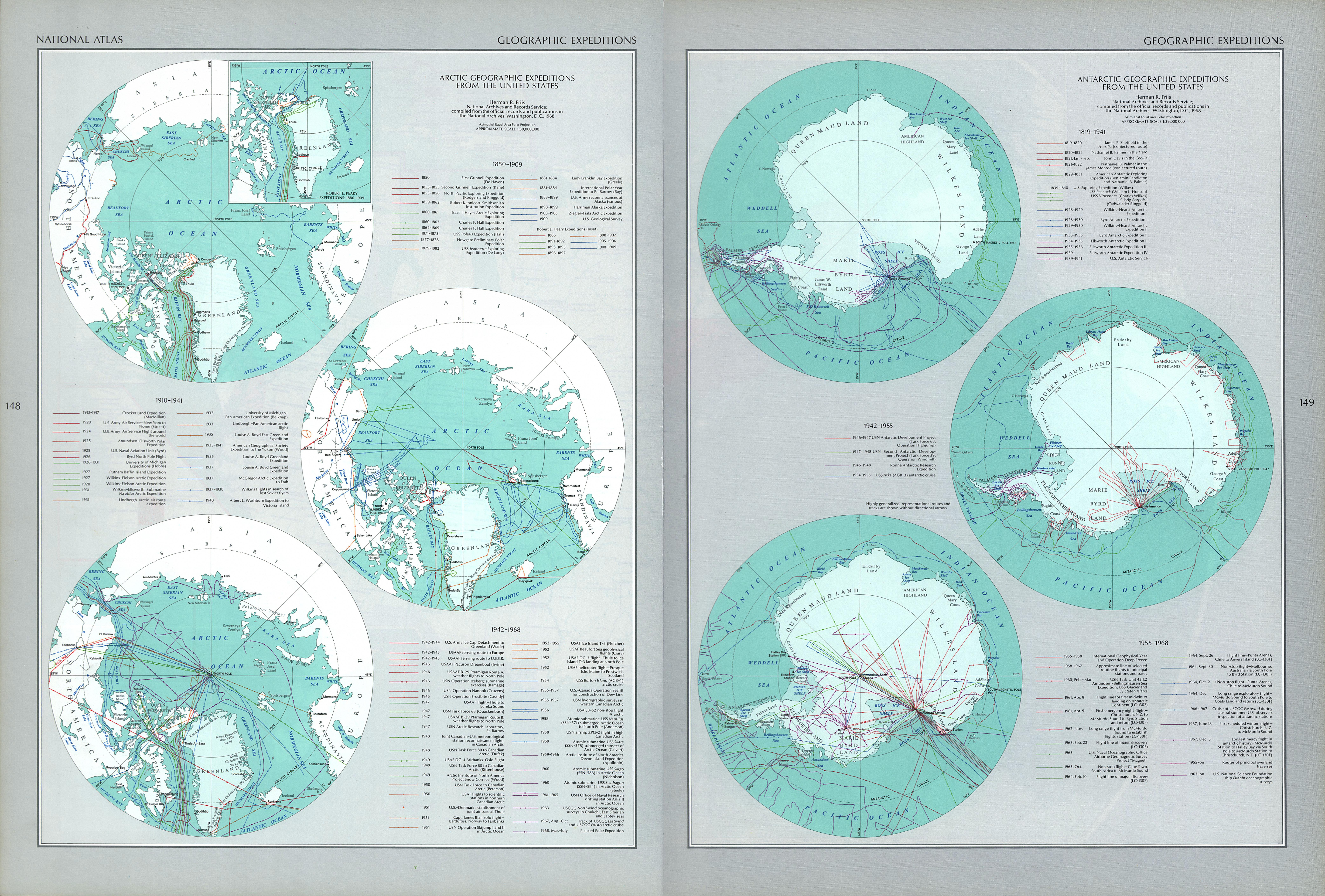 Arctic and Antartic Geographic Expeditions from the United States