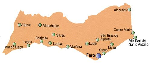Faro District Map, Portugal