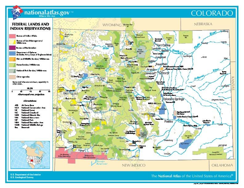 Federal Lands y Indian Reservations, Colorado, Estados Unidos, Colorado