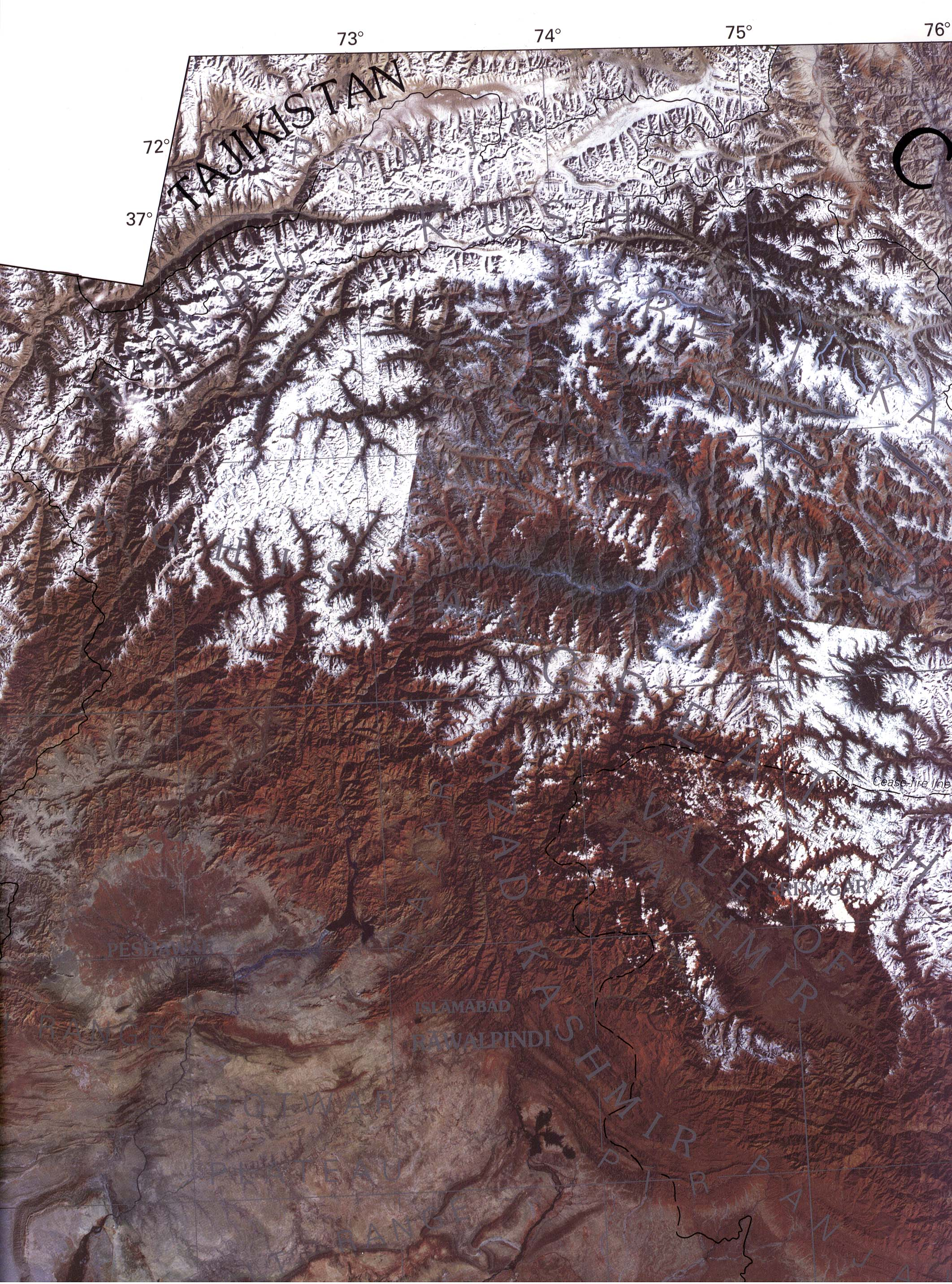 Foto, Imagen Satelite de la Sección Occidental de Cachemira y de los Territorios del Norte (Pakistán) 1997